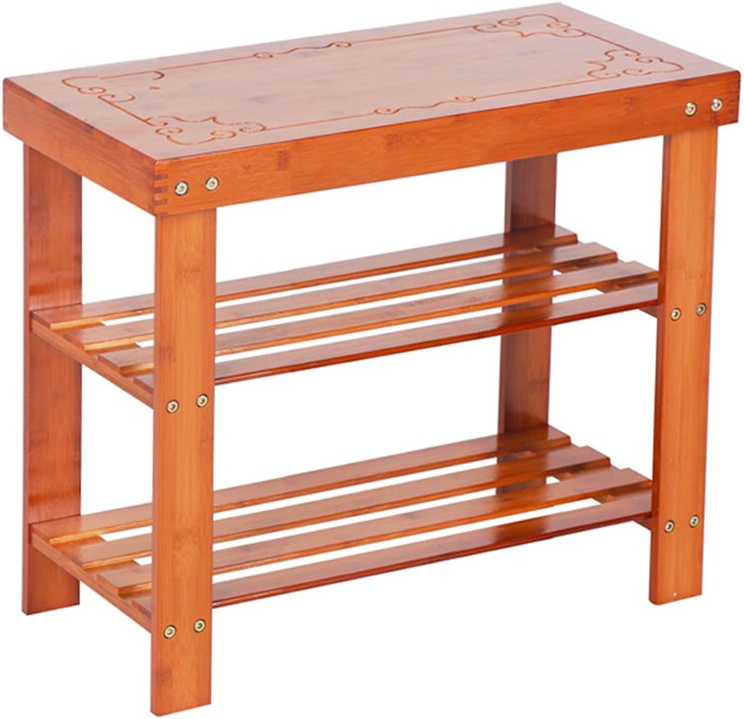 ZHIRONG 3-Tier Bamboo shoes Bench, shoes Rack Storage Organizer, Changing shoes Stool, Ideal For Hallway, Bathroom, Living Room And Corridor, 452850CM  452860CM   452870CM 452880CM 452890CM