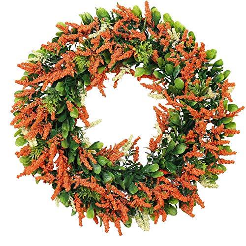 Orange Lavender Wreath - Sunnysdady 16 inches Artificial Farmhouse Wreath for Front Door Decor