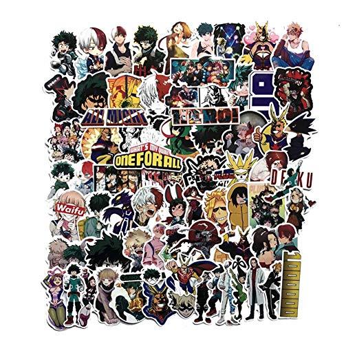 Saicowordist 73 Stck My Hero Academia Persnlichkeits-Aufkleber, Reisekoffer-Aufkleber, wasserfest, Auto-Aufkleber, Doodle, Anime-Fan-Geschenke
