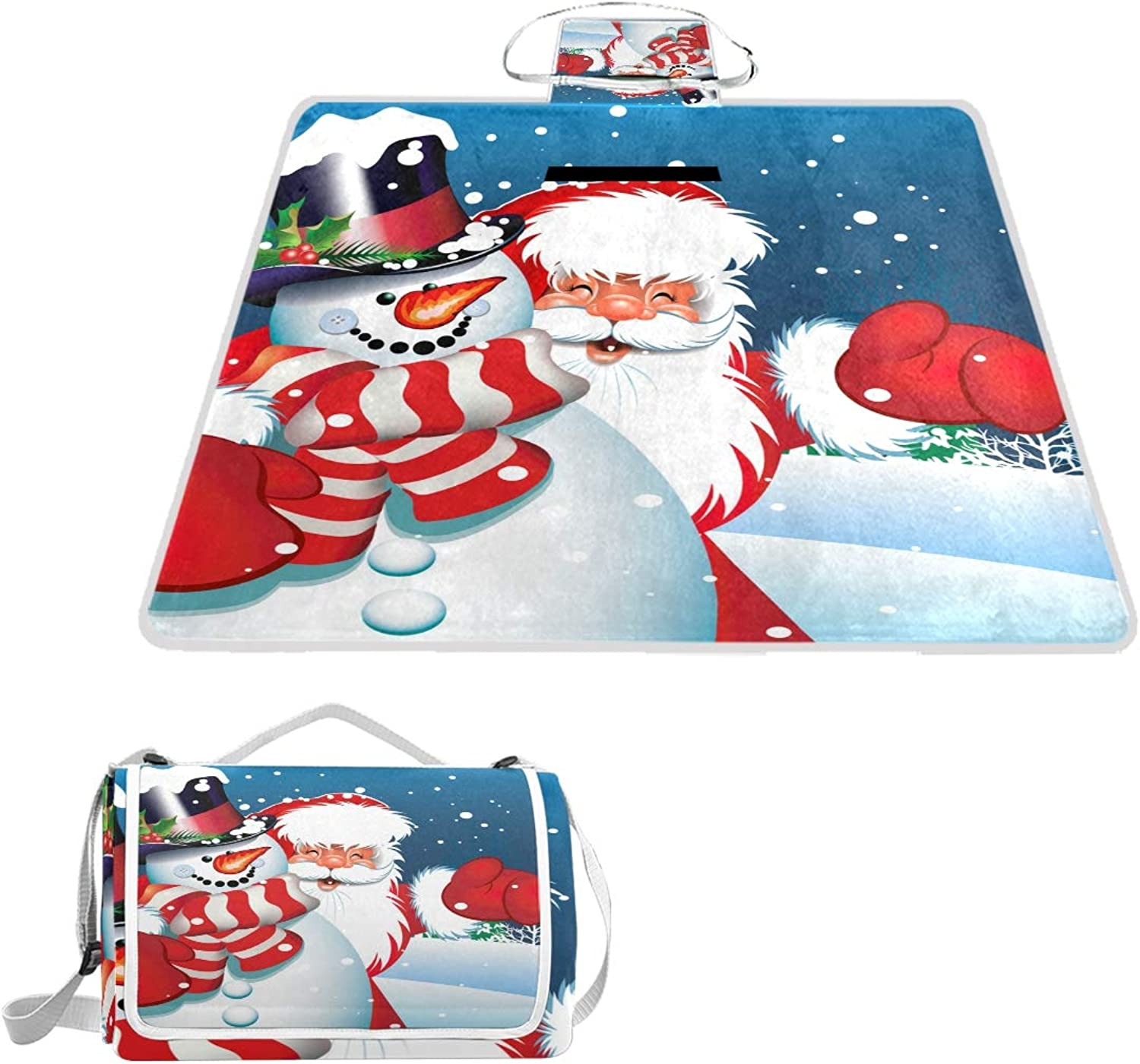 MASSIKOA Christmas Santa and Snowman Picnic Blanket Waterproof Outdoor Blanket Foldable Picnic Handy Mat Tote for Beach Camping Hiking