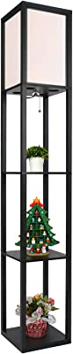 Fullwatt Lampadaire Salon, Lampadaire en bois massif avec étagère lampe sur pied de salon,decoration chambre salon bureau moderne,accessoire pour chambre à coucher, salon, hôtel, cadeau de Noël, noir