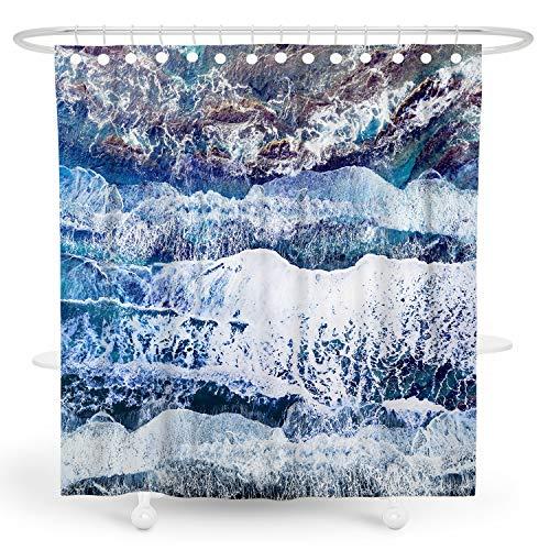 BARGHE Boho-Duschvorhang, bunter Duschvorhang, rustikaler Duschvorhang aus Polyester, wasserdicht, 182,9 cm Deep Blue Coast