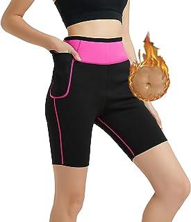 HuntDream Pantalones deportivos de neopreno calientes para sauna con bolsillo lateral Muslos de entrenamiento para adelgazar Capris Leggings Body Shaper