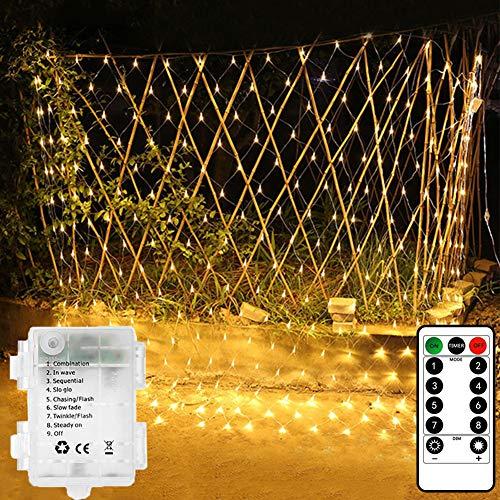 Lichterkette, Netz, für den Innen- und Außenbereich, 1,5 m, 100 LEDs, batteriebetrieben, mit Fernbedienung und Timer, für Vorhang, Weihnachtsbaum, Garten, Hinterhof, Zaun, Balkon, Dekoration warmweiß