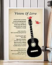 Mattata Decor Gift - Vision of Love Song Lyrics Portrait Poster Print (16
