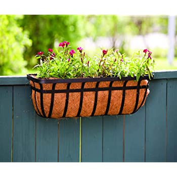 Amazon Com Flat Iron Window And Deck Planter With Adjustable Deck Mounting Hardware Rust Resistance And Powder Coated Steel In Black 36 Inch Garden Outdoor
