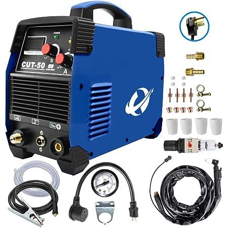 プラズマカッター、CUT50 50 Amp (100V/200V/110V/240V) デュアルボルテージ AC DC IGBT 切断機 LCD画面付き アクセサリーツール (ブルー)