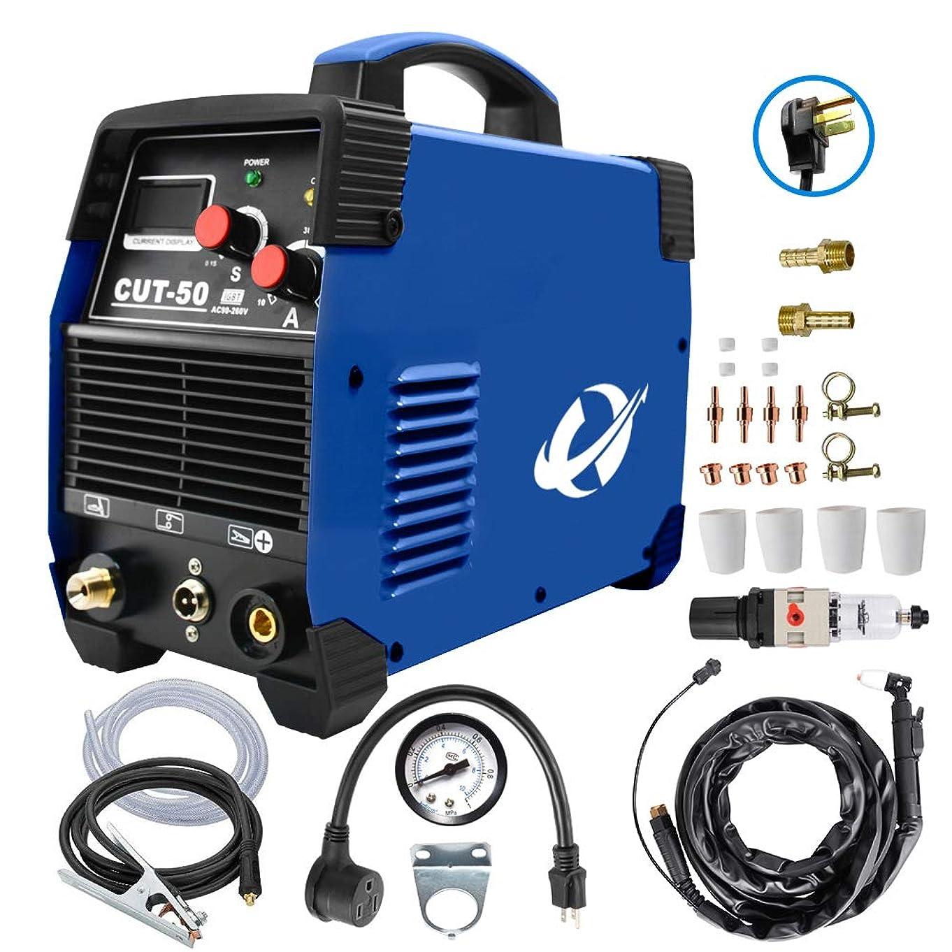 かける敵対的インスタンスプラズマカッター、CUT50 50 Amp 110V/220V デュアルボルテージ AC DC IGBT 切断機 LCD画面付き アクセサリーツール (ブルー)