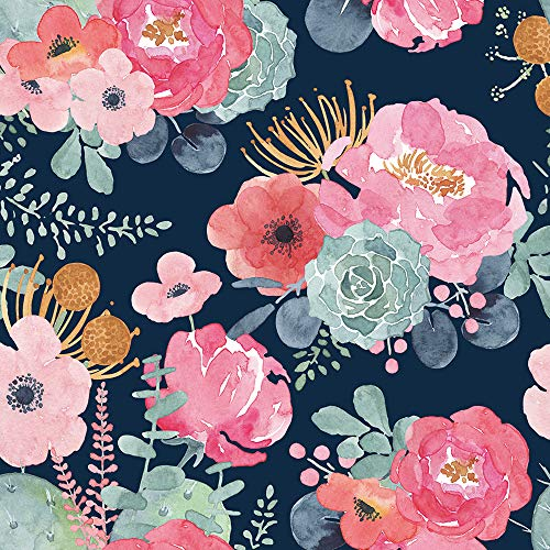 HaokHome 93005-1 Peel and Stick Modern Floral Wallpaper Pink/Green/Navy/Orange Vinyl Self Adhesive Prepasted Decorative 17.7in x 9.8ft