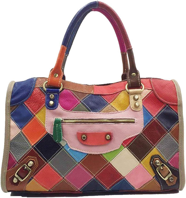 YYDDT Frau Handtasche Geometrisch Geometrisch Geometrisch Farbe Plot Spleiß Niet Rindsleder Echtes Leder Crossbody Umhängetasche B07L2VXGZY e5576e