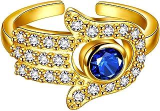 خواتم يد فاطيمة جميلة قابلة للتعديل مع عين شرير فضية 18K مطلية بالذهب Hnad خاتم مفتوح هدايا مجوهرات للنساء والرجال KR0011