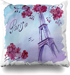 Ahawoso Throw Pillow Cover On Watercolor Skyline Drawing Wright Paris French Blue Branch City Color Design Europe Home Decor Cushion Case Square Size 18