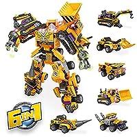 SerAno STEM ビルディングトイ 6イン1 建設ロボットビルディングブロックおもちゃセット 男の子 クリスマス 誕生日ギフト 12歳以上 (600ピース)
