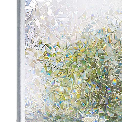 Lororenory raamfolie getint 3D zonder lijm statische decoratieve privacy film regenboogfolie voor glasschildering niet-klevende folie anti-UV-glassticker raamfolie