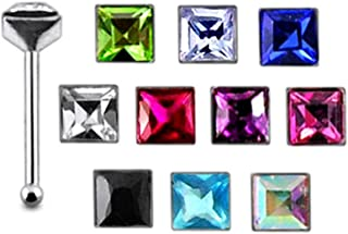 Pack of 20 Pieces Mix Color 22G Sterling Silver Square Ball End Nose Pin Stud
