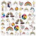 Tacobear 48PCs Colgante Esmalta Hacer Joyas Unicornio Arcoíris Nube Colgantes Dijes Pendientes Pulsera Collar Llavero Colgante Hacer Pulsera Collare Manualidades Joyas Niñas Mujeres Adultos