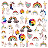 tacobear 48pcs ciondoli charm smalto ciondoli bracciali fai da te creazione gioielli farfalla nuvole unicorn ciondoli collana bracciali portachiavi creazione gioielli charm ragazze donne adulti