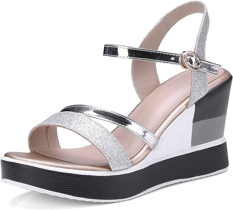 SaraIris Women's Open Toe Summer shoes Wedge High Heel Casual Ankle Strap Flatform Sandals