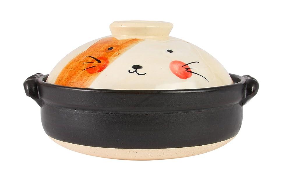 後できた宝マルヨシ陶器 手描ねこ 8号土鍋 M0523