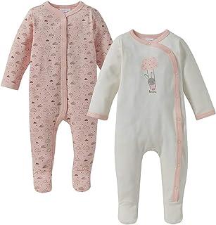 Bornino Basics Schlafoverall 2er-Pack - Einteiler für die Nacht - Nachtwäsche für Babys - Schlaf-Strampler mit Füßchen & Druckknopfleiste