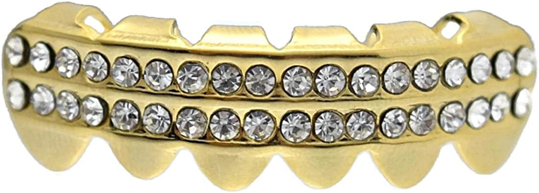 Grillz Iced Bottom Row Small Lower Teeth 14k Gold Plated Two Rows Hip Hop Grills