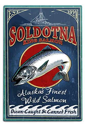 Lantern Press Soldotna, Alaska - Salmon Vintage Sign 42455 (6x9 Aluminum Wall Sign, Wall Decor Ready to Hang)