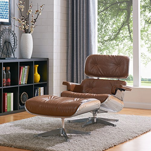 New Pacific Direct Grayson Lounge Accent Chairs, Distressed Caramel/Aluminium