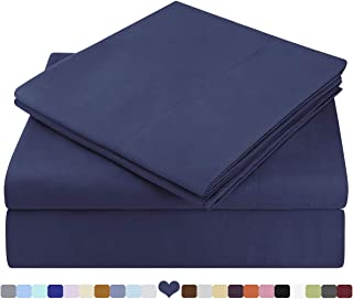 HOMEIDEAS Bed Sheets Set Extra Soft Brushed Microfiber 1800 Bedding Sheets - Deep Pocket, Wrinkle & Fade Free - 4 Piece(Queen,Navy Blue)