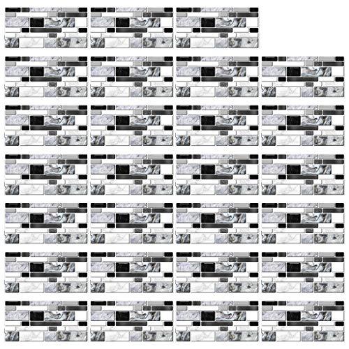 Incdnn 27 piezas de imitación gris ágata mármol azulejos adhesivos DIY cocina suelo pared pared baño decoración papel papel papel pintado para paredes de salón