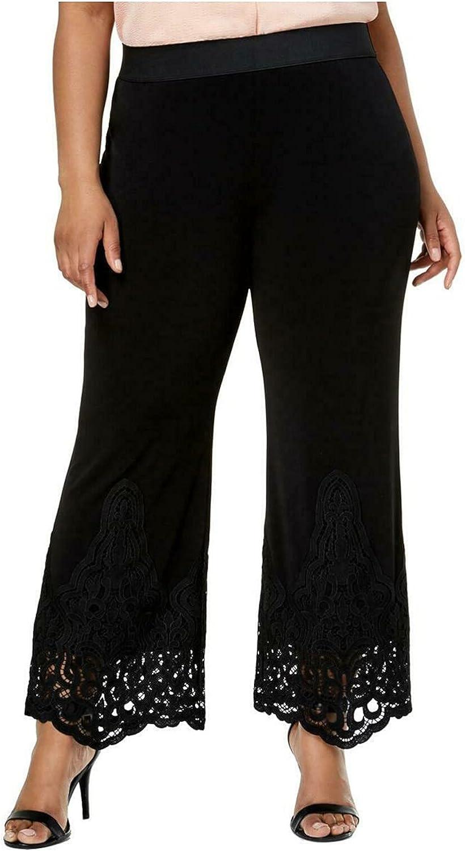 Alfani Womens Black Lace Straight Leg Pants Size S