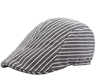 Bullidea Flat Cap Men Women's Classic newsboy Cabbie Driving duckbill Beret Hat Adjustable Striped Sun Protection Gray