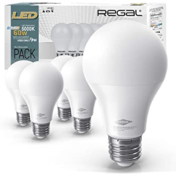 Regal LED A19 Light Bulb 5000K Daylight 800-Lumen, 9-Watt (60-Watt Equivalent), E26 Base, 5000 Kelvin, Day Light, 5-Pack, Non-Dimmable
