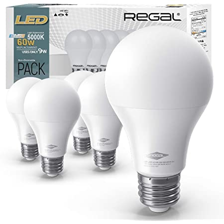 Regal LED A19 Light Bulb 5000K Daylight 800-Lumen, 9-Watt (60-Watt Equivalent), E26 Base, 5000 Kelvin, Day Light, 5-Pack, Non-Dimmable