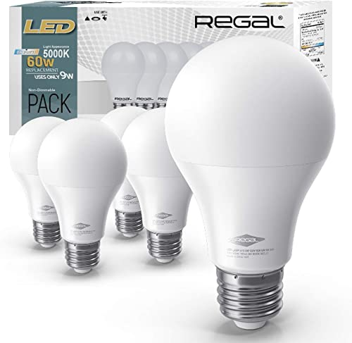 Regal LED A19 Light Bulb 5000K Daylight 800-Lumen, 9-Watt (60-Watt Equivalent), E26 Base, 5000 Kelvin, Day Light, 5-P...
