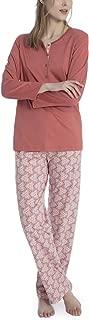 Calida 100% Cotton Knit Long Sleeve Pajamas in Cedar Sands