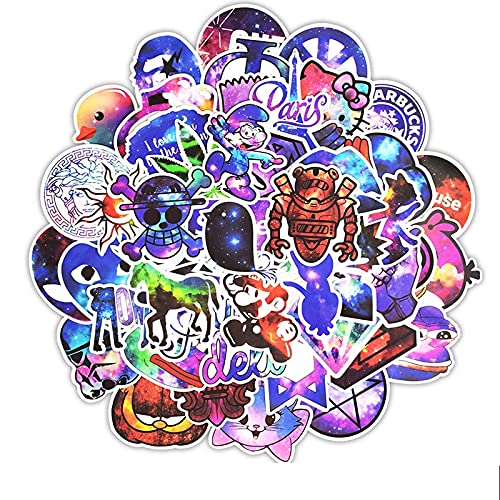 Sticker Pack [50Pcs] Cool Color Graffiti Stickers Harajuku Star Stickers Personalized Vinyl Decals Suitable For Skateboard Suitcase Notebook Stickers