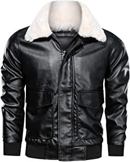 Sumen Men Jacket Fashion Zip-up Slim Fit Faux Leather Moto Bomber Coat