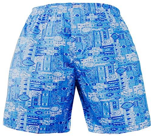 Herren Komfort Schlaf Unterwäsche Thai Seide Boxershorts Grafik Muster Gr. XXL, hellblau