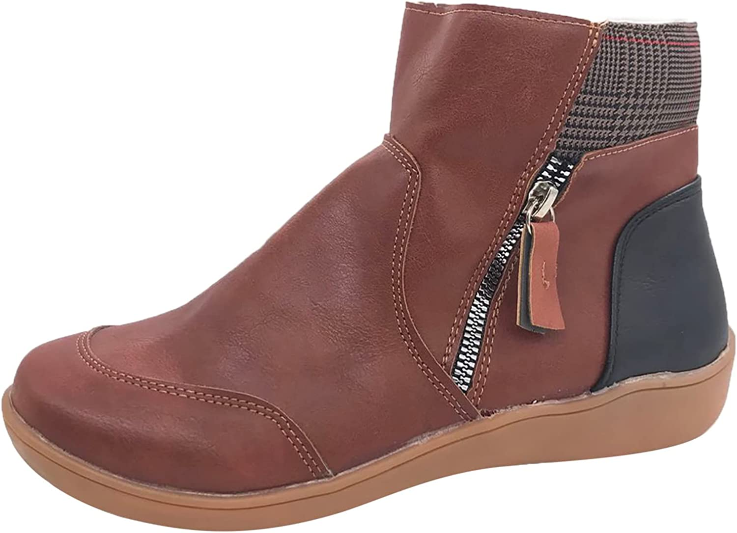 ZiSUGP Women's Vintage Ankle Boots Soft Sole Splicing Round Toe with Side Zipper Short Naked Boots Shoes
