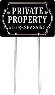Kichwit Private Property No Trespassing Sign Double Sided, Aluminum, All Metal Construction, Sign Measures 11.8