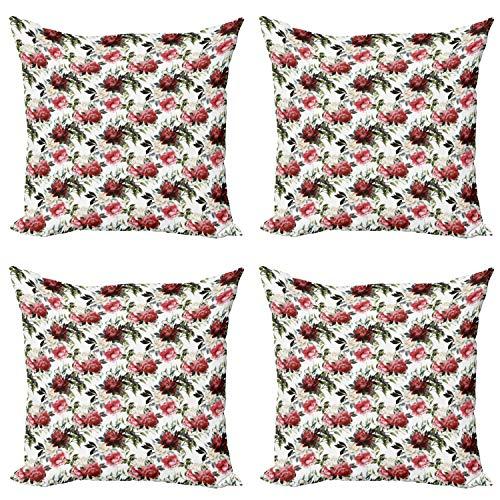 ABAKUHAUS País Set de 4 Fundas para Cojín, Las Rosas Rosadas de la Acuarela, Estampado Digital en Ambos Lados y Cremallera, 60 cm x 60 cm, Coral Oscuro Granate