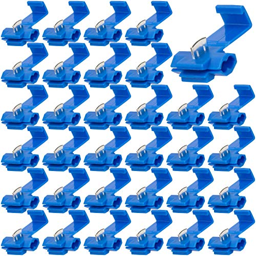 OIIKI 60pcs Quick Splice Wire Connectors, Scotch Lock Quick Splice Wire Terminals, Solderless Electrical Wire Splice Connectors 16 Through 14 Gauge for Cables Connecting (Blue)
