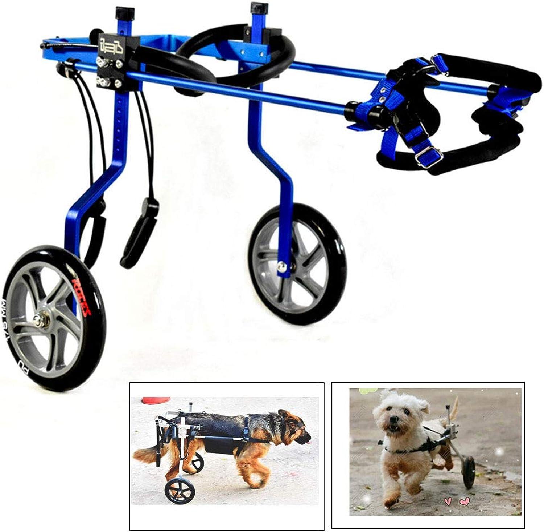 CHUDAN Dog Harness /Dog Wheelsedia sedia a rotelle, disabilità gambe per la riabilitazione degli animali domestici, Ruote 2 regolabili / 4 ruote cane sedia a rotelle Pettine Handicapped cane pratica per piccoli cani, 36kg,Blue,XS