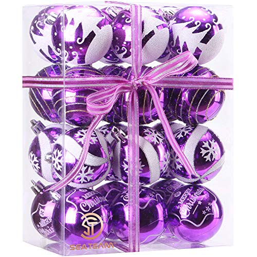 Sea Team 60mm/2.36' Delicate Painting & Glittering Shatterproof Christmas Ball Ornaments Decorative Hanging Christmas Ornaments Baubles Set for Xmas Tree - 24 Counts (Purple)
