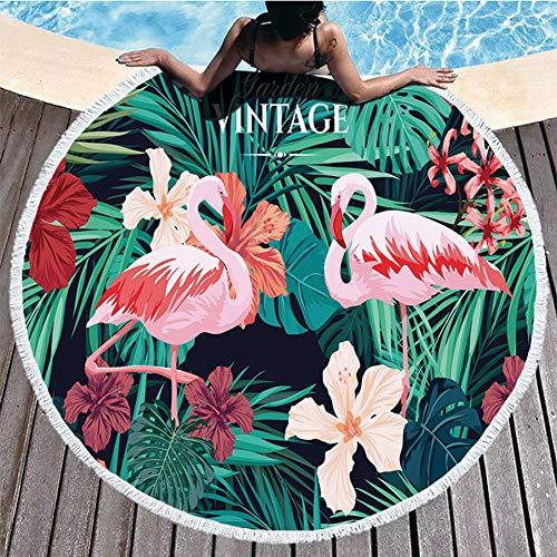 Weiqiao® - Toalla de Playa de Microfibra con diseño de Flamenco, antiarena, Impermeable, Mantel con Franjas para Yoga, Viajes, Camping