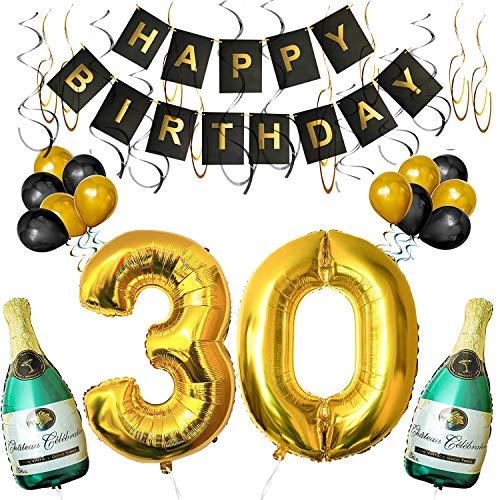 Happy 30th Birthday Ballonnen en bannier set van BELLE VOUS Inclusief Opblaasbare Champagne Flessen, 1 Meter Grote Gouden Nummers 30 en Ballonnen - Muur Decoratieve Feest Benodigdheden Décor kit