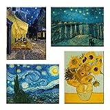 LuxHomeDecor Cuadros Van Gogh Vincent 4 piezas 40 x 30 cm Impresión sobre lienzo con marco de madera Arte decoración