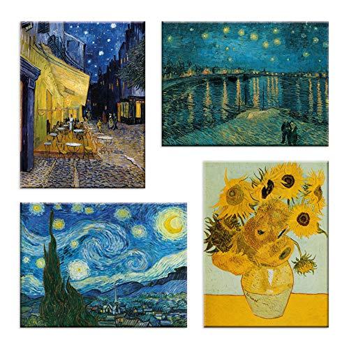 LuxHomeDecor Cuadros Van Gogh Vincent 4 piezas 40 x 30 cm Impresion sobre lienzo con marco de madera Arte decorativo