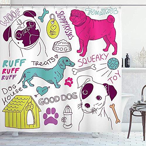 wobuzhidaoshamingzi Hundeliebhaber Duschvorhang, Love Dogs Doodle Footprint Hundefutter Bowl House Ball Spielzeug Spielzeit Kunst, Fuchsia Teal lila