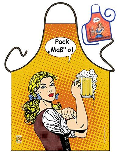 Grillschürze Pack Maß O Bayer Comic Look Küchenschürze Damen Schürze geil bedruckt Geschenk Set mit Mini Flaschenschürze